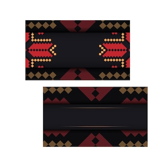 あなたのテキストとビンテージパターンのためのスペースを備えた招待カードのデザイン。スラブの装飾が施された黒のポストカードの豪華なデザイン。