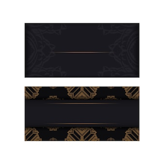Дизайн пригласительного билета с пространством для текста и старинных узоров. вектор готовый к печати дизайн открытки черного цвета со словенскими узорами.