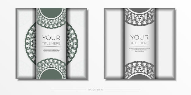 Invitation card design with space for your text and vintage patterns. luxurious white postcard design with dark greek ornaments.