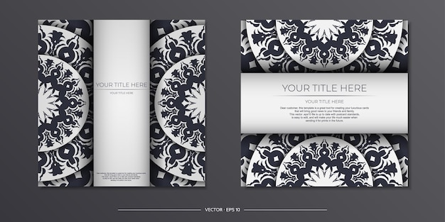 Invitation card design with space for your text and vintage patterns. vector ready-to-print white color postcard design with greek patterns.