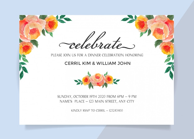 Invitation card for dinner celebration with watercolor flower frame border
