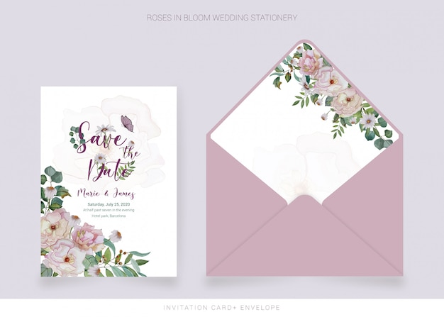 Invitation card, envelope with watercolor painted flowers
