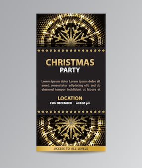 Invitation card flyer template with glittering snowflake decorations for christmas party.