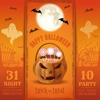 Пригласительный билет на вечеринку в честь хэллоуина. ешь, пей, бойся. дизайн на хэллоуин с корзиной конфет в форме тыквы. иллюстрация