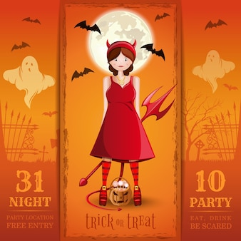 Invitation card for a halloween night party. eat, drink, be scared.