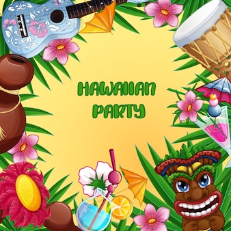 Invitation card to the hawaiian summer party.