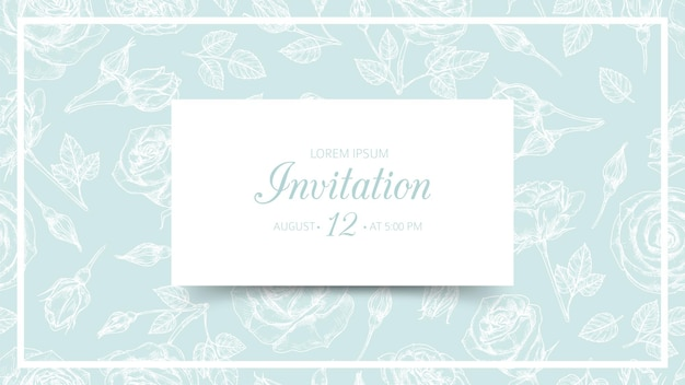 Invitation card isolated on floral seamless pattern on green