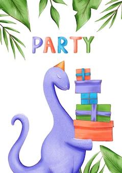 Пригласительный билет или плакат на вечеринку dino.