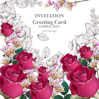 招待状。バラの美しさの花