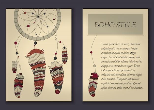 Пригласительный билет в стиле бохо с племенными перьями и бусами