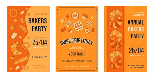 Invitation card set with baking. pastry and bread  illustrations with text, time and date on orange background.