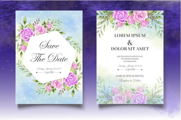 バラが美しい招待状セット