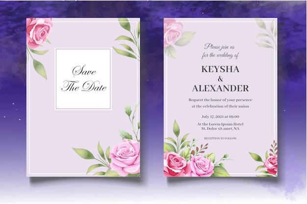 Пригласительный билет с красивыми розами Premium векторы