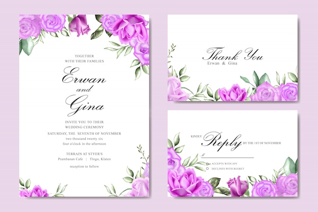 Invitation card set with watercolor floral and leaves template