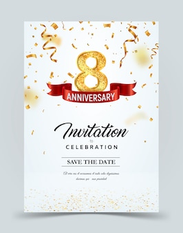 Invitation card template of 8 years anniversary with abstract text vector illustration. greeting card template