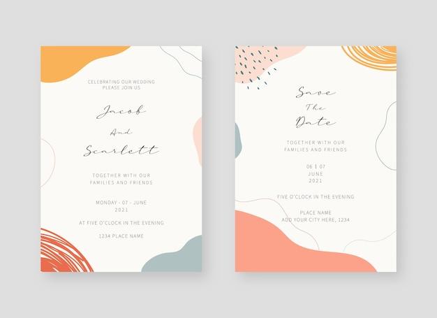 招待状のテンプレート。結婚式の招待カードテンプレートのセット