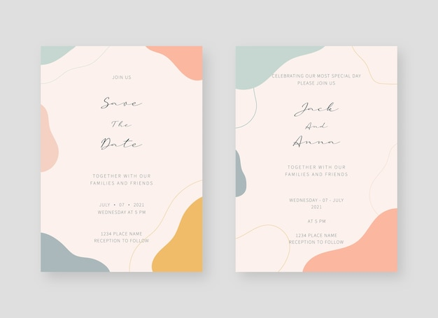Invitation card template. set of wedding invitation card template