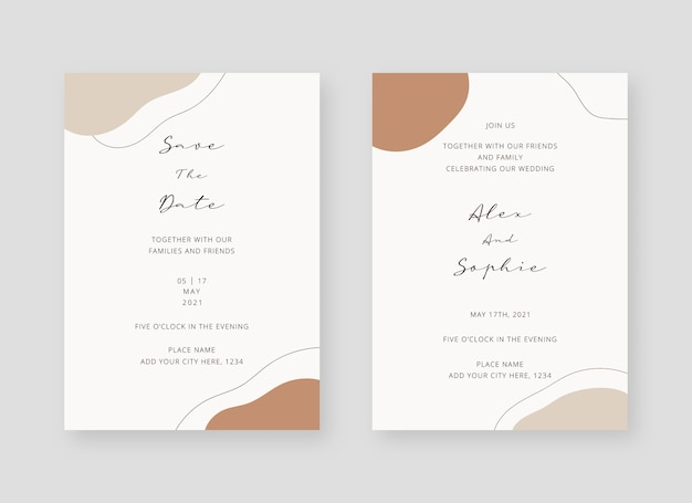 Invitation card template set of wedding invitation card template