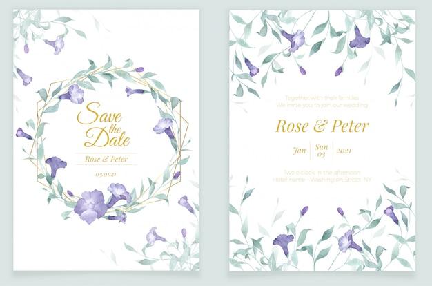 초대 카드 템플릿 수채화 꽃과 골든 프레임 녹지