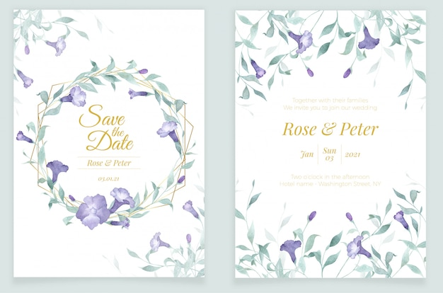 Invitation card template watercolor flower and greenery with golden frame