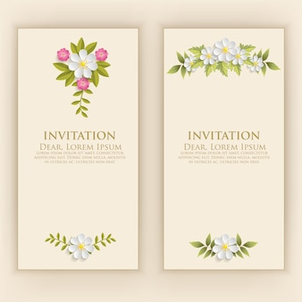 Invitation card template with elegant flower decoration