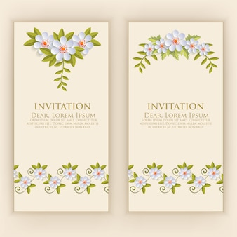 Invitation card template with elegant flower decoration