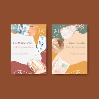 パーティーや会議の水彩イラストのヨーロッパのピクニックコンセプトデザインの招待カードテンプレート。
