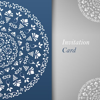 Invitation card template with floral elements