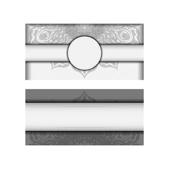 텍스트 및 장식에 대 한 장소를 가진 초대 카드 템플릿. 검은색 만다라 장식이 있는 벡터 흰색 엽서 디자인입니다.