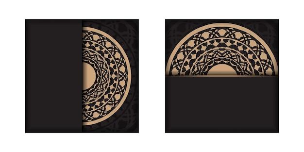 텍스트와 빈티지 장식품을 위한 장소가 있는 초대 카드 템플릿. 그리스 패턴이 있는 검정색의 고급스러운 바로 인쇄 가능한 엽서 디자인.
