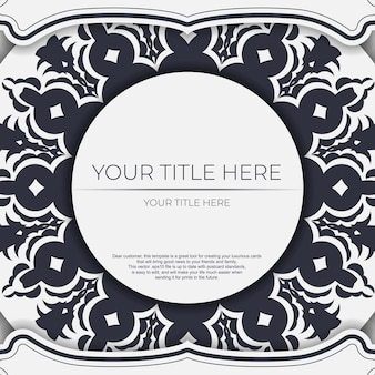 Invitation card template with place for your text and vintage ornaments. vector white color postcard design with greek ornament.