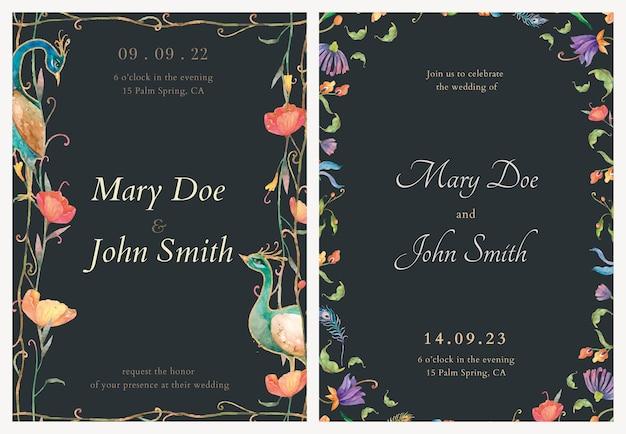 Modelli di biglietti d'invito con pavoni ad acquerello e illustrazione di fiori