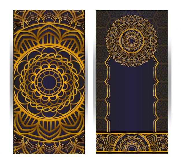 紫色の背景にマンダラパターンと招待状カードビンテージデザイン Premiumベクター