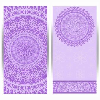 Invitation card vintage design with mandala pattern.