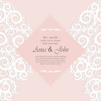 Invitation card, wedding card with ornament