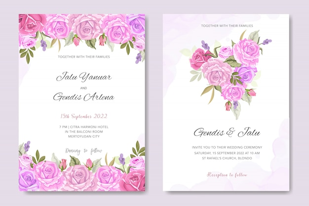Invitation card with beautiful floral and leaves