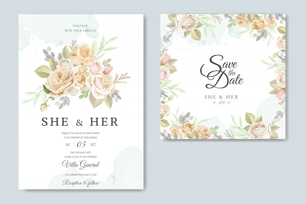 Invitation card with beautiful floral template