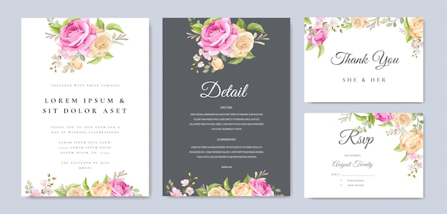 Invitation card with beautiful yellow and pink roses template