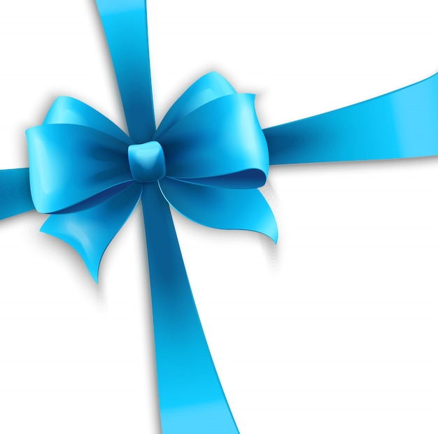 Invitation card with blue holiday ribbon and bow