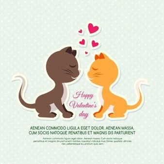 バレンタインデーの猫の招待状