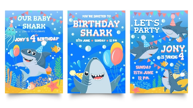 Invitation card with cute sharks.