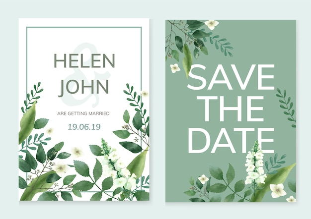 Invitation card with a green theme