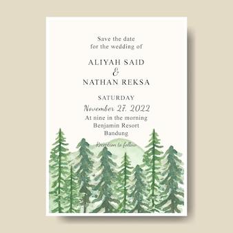 Пригласительная открытка с ручной росписью акварель сосны горный фон