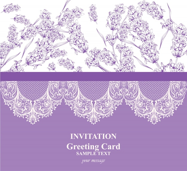 Invitation card with lavender and lace decor.