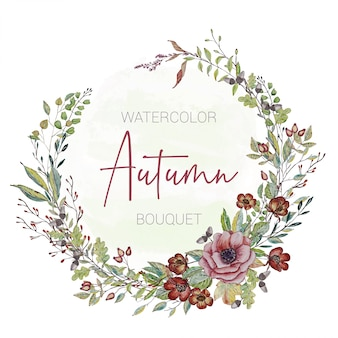 Invitation card with painted autumn flowers