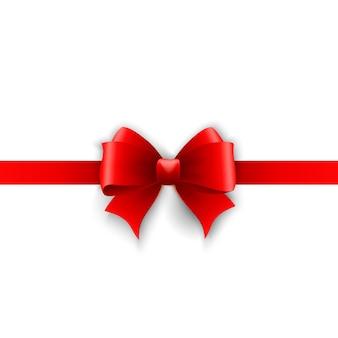 赤いホリデーリボンと弓の招待状