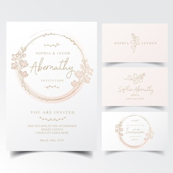 Invitation card with spring flowers