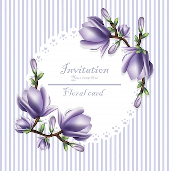 Invitation card with violet flowers wreath