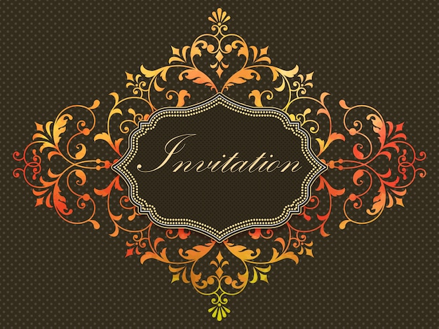 Invitation card with watercolor damask element on the dark background.