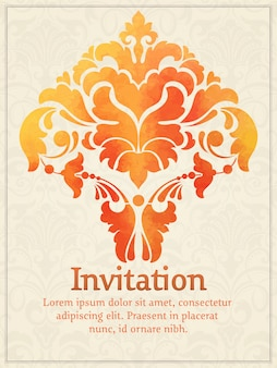 Invitation card with watercolor damask element on the light damask background